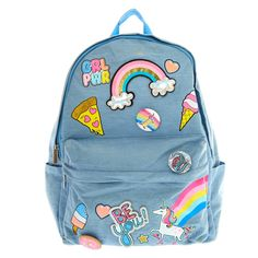 Unicorn Fun Fair Patches Backpack | Travel in style to school or around the world with this Coney Island Patch Backpack. The light blue cotton fabric is accented with tasty treat patches like pizza, ice cream, hot dogs, and more.