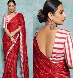 Red colore designer saree Bollywood Style digital printed saree with exclusive style party wear saree Indian Women Saree Saree Blouse Neck Designs, Stylish Blouse Design, Saree Trends, Designer Blouse Patterns, Stylish Sarees, Party Wear Sarees, Saris, Silk Sarees, Satin Saree