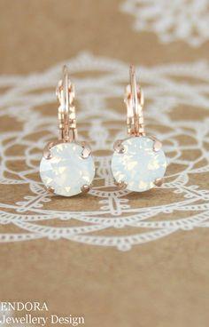 White opal crystal earrings   Swarovski white opal   rose gold earrings   white wedding   summer fashion   beach wedding   www.endorajewellery.etsy.com