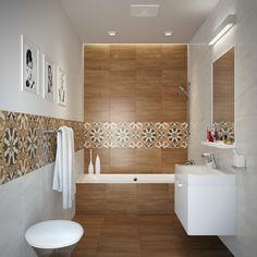 salle de bains moderne avec carrelage mural aspect bois clair et frise originale