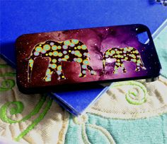 Mum Elephant and The Baby Elephant Galaxy Nebula for iPhone 4/4s/5/5s/5c, Samsung Galaxy s3/s4 case