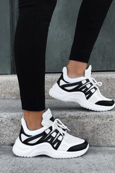 Chunky Mesh Two Tone Lace Up Sneakers – Mysplanet shoes sneakers nike Sneakers Mode, Cute Sneakers, Sneakers Fashion, Fashion Shoes, Shoes Sneakers, Black Sneakers, Sneakers Adidas, Chunky Sneakers, Yeezy Shoes