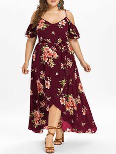 Plus Size Cold Shoulder Belt Overlap Dress Women Spaghetti Strap Half Sleeves Floral Print Dresses Bohemian Beach Dress Red Wine Big Size Dress, Plus Size Maxi Dresses, Modest Dresses, Trendy Dresses, Sexy Dresses, Plus Size Outfits, Short Dresses, Halter Dresses, Pageant Dresses
