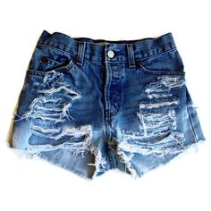 Custom Made High Waisted Shorts Bleached and Ripped Any Size Hipster... ($40) ❤ liked on Polyvore