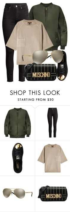 """""""Slay"""" by smartbuyglasses ❤ liked on Polyvore featuring WearAll, Puma, adidas Originals, DKNY and Moschino"""