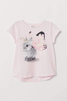 Jersey Top with Printed Design - Light pink/rabbit butterfly - T Shirt Photo Printing, Kids Blouse Designs, Kids Clothes Sale, Butterfly Kids, Girls Fall Outfits, Pink Rabbit, Frocks For Girls, Baby Shirts, Kids Wear