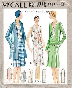 McCall 5717 1920s 1929 drop waist dress pleat skirt box jacket or coat jabot or tie collar vintage sewing pattern reproduction