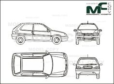 Citroen Saxo in 3 door execution - drawing (blueprints) - 25856 - Model COPY - Fiat Uno, Ford Sierra, Autocad, Adobe Illustrator, Subaru Justy, 3d Modeling Programs, Citroen Car, Fiat Cars, Fiat Panda