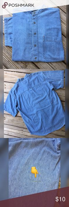 BB Denim Button Down Bugle Boy Denim Button down S/S Shirt.  Nice comfortable shirt for just kicking around!  Has minor stain on back as noted in Photo 3.  Laundered and ready to Go!  Price is Firm unless Bundled! Bugle Boy Shirts Casual Button Down Shirts