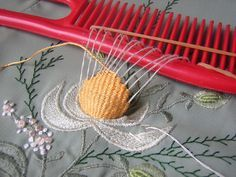 Three dimensional weaving embroidery with comb. This could also adapt for difficult darning/mending situations!