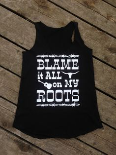 Blame it All on My Roots Tank, Jr Racer Back Flowy Tank is Durable and Comfortable in 4.5 oz. 100% combed ringspun cotton. U-neck with raw serge