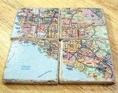 Coasters made from maps