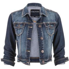 maurices Medium Wash Denim Jacket ($39) ❤ liked on Polyvore featuring outerwear, jackets, tops, coats, medium dark wash, blue jackets, blue jean jacket, cotton jean jacket, blue denim jacket and cropped jacket