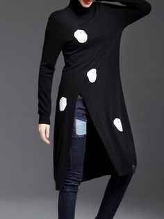 Shop Sweaters - Black Slit Long Sleeve Knitted Polka Dots Sweater online. Discover unique designers fashion at StyleWe.com.