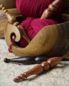 "Furls Wooden Yarn Bowl ~ 6""diam x 3""h bowl handmade from acacia wood, $36 | from Furls Fiberarts"