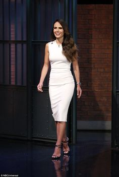 Beautiful:The stunning 36-year-old revealed on Late Night with Seth Meyers on Tuesday night that her eldest son 'drops the F bomb a lot'