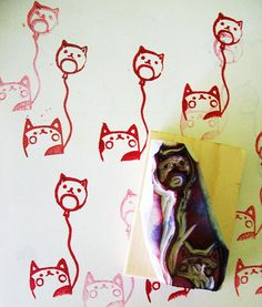 kitty balloon hand carved stamp