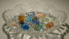 Vintage Murano Glass Candy Decorations 12 in a crystal clear candy dish