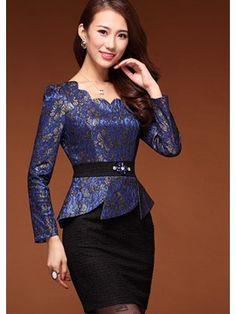 Elegant Blue Lace Sheath Dresses