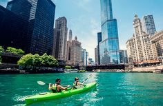guided paddles and rental kayaks are offered through Urban Kayaks.   Kayak Chicago rents out 200 kayaks and also hosts tours that take off from the river between Old Town and Bucktown, and include options like a three-hour Sunset Paddle ($59).