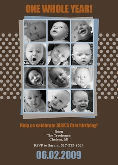first  birthday party collage invitation  One by saralukecreative, $19.00