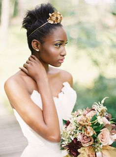 Autumn bridal bouquet and gold rose headpiece