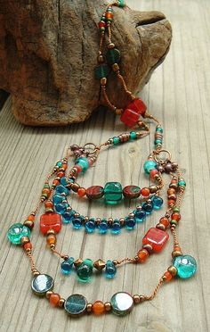 Boho, Tribal, Hand Knotted, Layered, Multi Strand, BIb Necklace