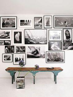 Un banc et des photos black and white