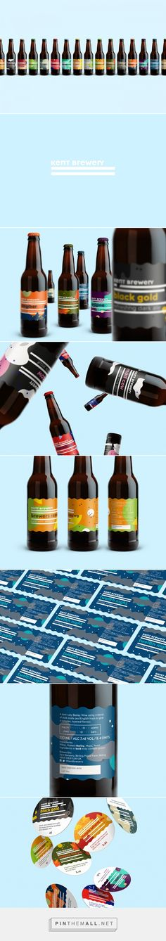 Art Direction, Graphic Design, Packaging for KENT BREWERY on Behance by Jan Baca Görlitz, Germany curated by Packaging Diva PD. A dynamic system of shapes that represent very basic ingredients of every beer—water, malt, hop and yeast created a generic label that could be easy to adjust by changing only the colour and beer name.