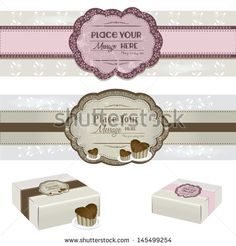 Vintage Cake Label with sweet cake boxes