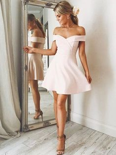 bf1956d865c A-Line Off-the-Shoulder Sleeveless Satin Short Mini Dresses. White Short  Dress GraduationGrad ...