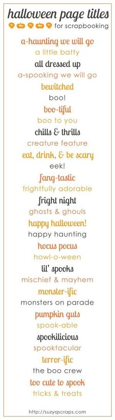 halloween scrapbook page titles by lorene