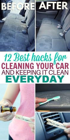 12 DIY Car Detailing Tips and Tricks That'll Make it Like New - - These DIY car detailing hacks are perfect for people who want their car to stay looking new for longer. Best part is they take little effort! Diy Car Cleaning, Cleaning Car Upholstery, Deep Cleaning Tips, Spring Cleaning, Tips And Tricks, Diy Hacks, Diy Auto, Clean Your Car, Clean Car Tips