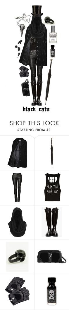 """Black Rain"" by ladomna ❤ liked on Polyvore featuring Hope x Nina Persson, Alexander McQueen, Balmain, Gestuz, Givenchy, Burberry, Aspinal of London, Pamela Love and Demeter Fragrance Library"