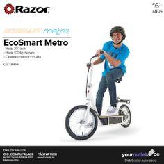 Productividad, diversión y ecología con el scooter eléctrico EcoSmart Metro de Razor. Cero emisiones de CO2.  A la venta en la tienda 3010 de CompuPalace y en nuestra web.