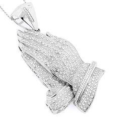 14K Gold Diamond Praying Hands Pendant 2.87ct