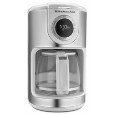 KitchenAid KCM1202WH White 12-cup Glass Carafe Coffee (Brown) Maker (White)