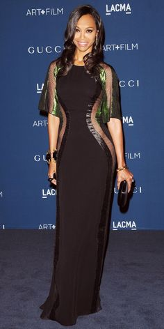 ZOE SALDANA At the LACMA Art + Film Gala, Zoe Saldana dropped jaws in a custom Gucci gown that boasted iridescent green, mesh and body-conto...