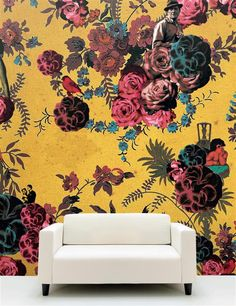 "Digitally printed wallpaper ""Rosmarie"" by Lisa Bengtsson. {For the entry or hall}"