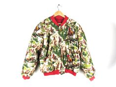 Vintage 90s Reversible Puffy Jacket by Esprit - Cowboy Western Print and Bright Red - Bomber Style - Soft Flannel - Insulated - Large, XL