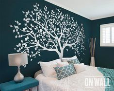 Decorate With Murals and Wall Tattoos Bedroom Wall Designs, Bedroom Murals, Wall Murals, Bedroom Decor, Wall Decals For Bedroom, Tree Decal Nursery, Tree Decals, Vinyl Wall Decals, Simple Wall Paintings