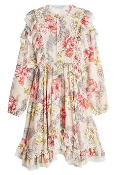 Philosophy di Lorenzo Serafini - Printed Cotton Dress with Ruffles and Lace