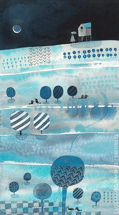 the silent speaking of the moon ~ simona dimitri Creative Illustration, Children's Book Illustration, Watercolor Illustration, Digital Illustration, Arte Peculiar, Naive Art, Grafik Design, Whimsical Art, Storyboard