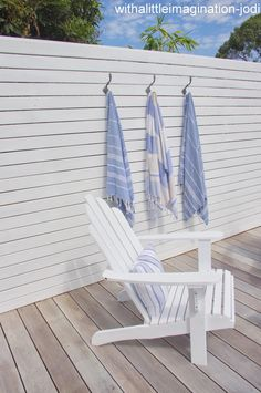 I like this contrast for decking privacy walls and a more natural or different finish for flooring of deck. White washed decking | adirondack | Turkish Towels