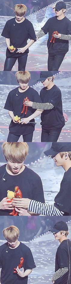 AW tae tae gave jungkook a iron man figure something Ueje and jungkook looked shook then he threw the pooh? Plushie and took the iron man figure!