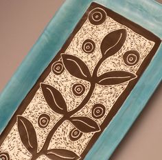 Graphic Vine Leaf Patterned Carved Plate with by ShootTheMoon