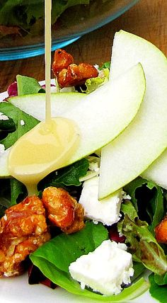 Pear, Walnut and Feta Salad with the BEST Homemade Dressing