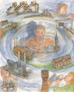 Water en alle functies die het voor ons in de provincie Utrecht heeft: levensmiddel - reiniging - transport - bevloeien - koeling - verwarming - keren. Een tekening van Tom Eyzenbach uit 1996 met de in de provincie Utrecht te vinden bouwwerken rond het thema water.
