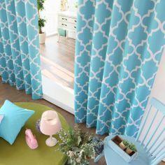 Blue Moroccan Tile Printed Room Darkening Grommet Curtains