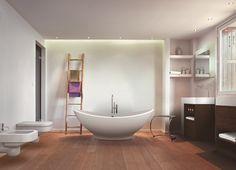 Badausstattung: WC und Bidet Wellcome, Waschtisch Elle, Stuhl Stool, Badewanne Lavasca Mini Interior Architecture, Bathing, Elle, Bathroom, Mini, Bath Tub, Bath, Bath Room, Swim